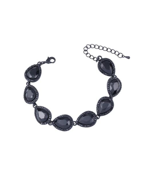 black Brass Glass Stone Water Drop Luxury Bracelet