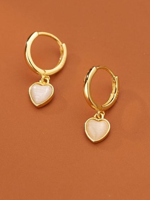 Rosh 925 Sterling Silver Cats Eye Heart Minimalist Huggie Earring