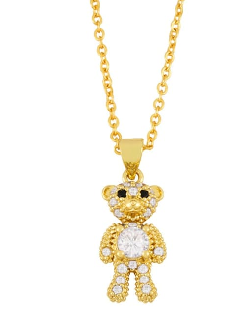 B Brass Cubic Zirconia  Cute Bear Pendant Necklace