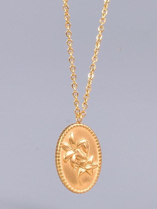 A TEEM Titanium Oval Flowers Minimalist  pendant Necklace 0