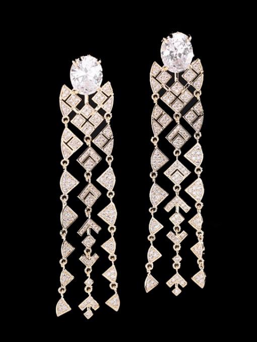 Luxu Brass Cubic Zirconia Tassel Vintage Drop Earring 0