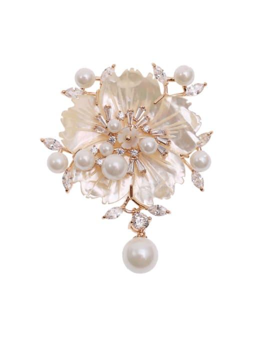 Luxu Brass Cubic Zirconia Flower Luxury Brooch