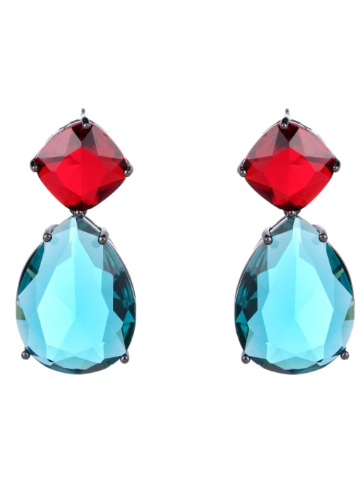 Red and blue Brass Cubic Zirconia Water Drop Trend Drop Earring