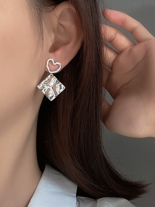 Boomer Cat 925 Sterling Silver Asymmetry Geometric Vintage Drop Earring 1