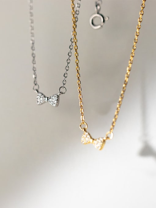 Rosh 925 Sterling Silver Cubic Zirconia Bowknot Minimalist Necklace 2