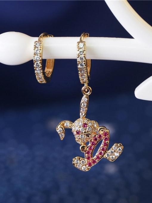 DUDU Brass Cubic Zirconia  Vintage Asymmetry rabbit Huggie Earring 1