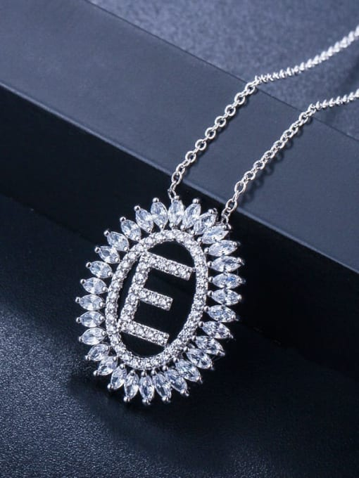 Letter E Brass Cubic Zirconia Geometric Luxury Letter pendant Necklace