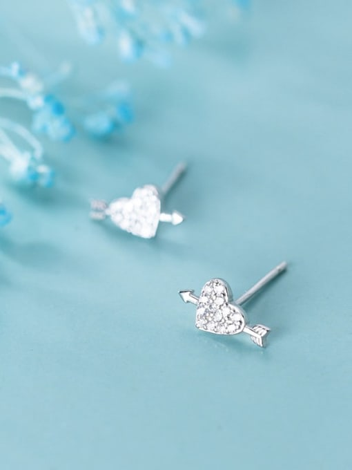 Rosh 925 Sterling Silver Cubic Zirconia  Heart Classic Stud Earring 1