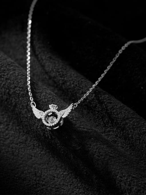 Rosh 925 Sterling Silver Cubic Zirconia Wing Minimalist Necklace 3