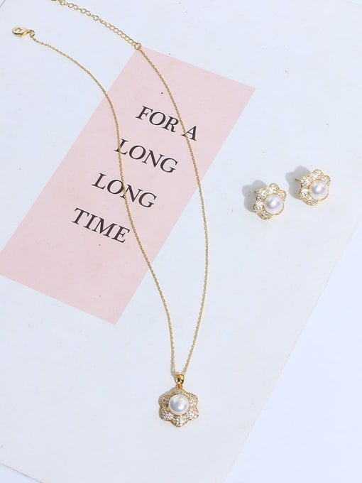 RAIN Brass Imitation Pearl Vintage Flower  Earring and Necklace Set 1
