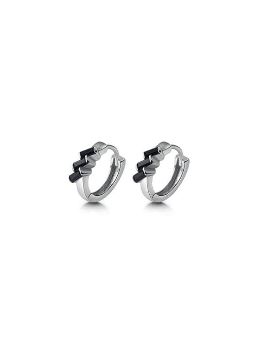 Rosh 925 Sterling Silver Cubic Zirconia Irregular Cute Huggie Earring 4