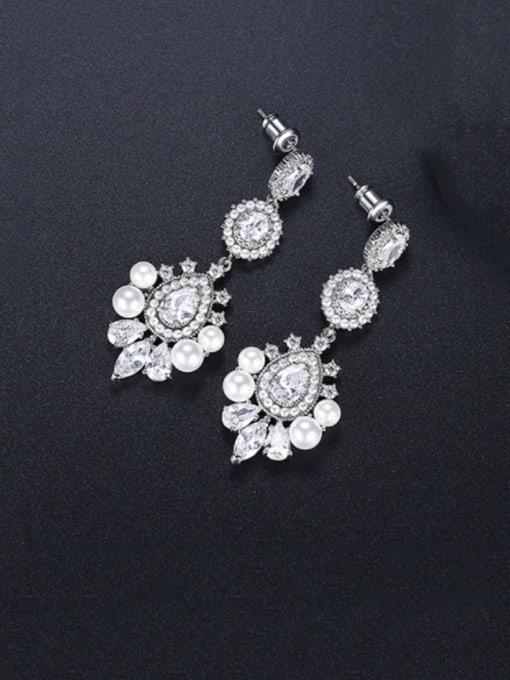 BLING SU Brass Cubic Zirconia Flower Luxury Drop Earring