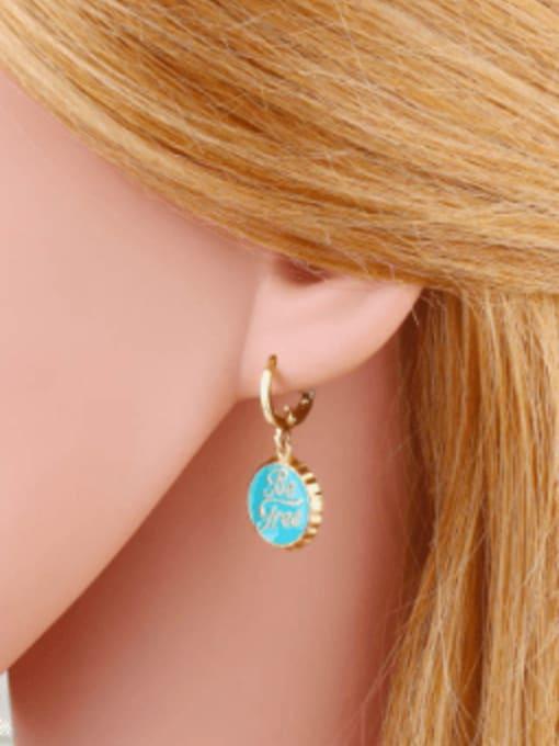 CC Brass Enamel Round Letter Vintage Huggie Earring 4
