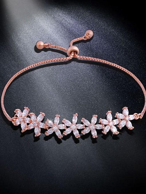 rose gold Brass Cubic Zirconia Flower Dainty Adjustable Bracelet