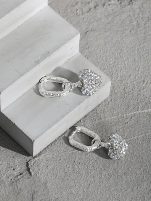 DAKA 925 Sterling Silver Cubic Zirconia Heart Vintage Huggie Earring 1