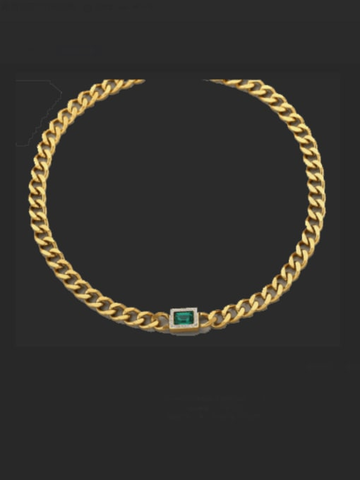 A TEEM Titanium Steel Cubic Zirconia Geometric Vintage Necklace 2