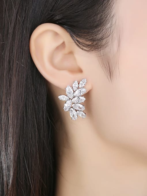 BLING SU Copper Cubic Zirconia Flower Luxury Cluster Earring 1