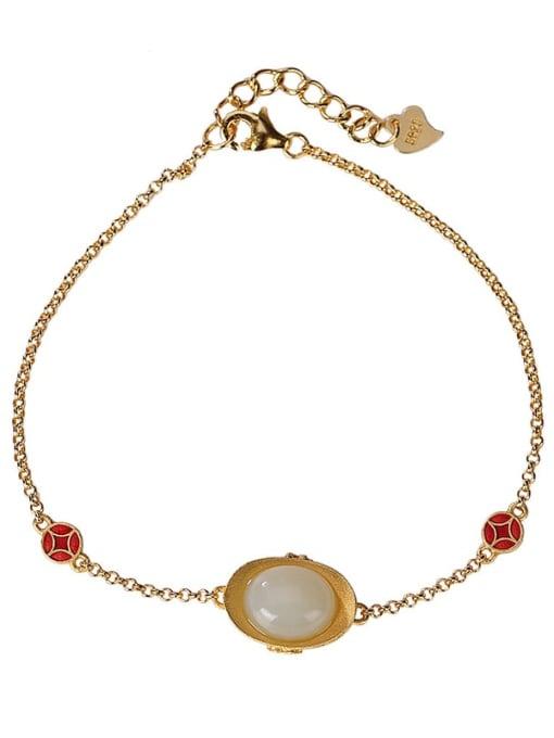 DEER 925 Sterling Silver Jade Oval Vintage Link Bracelet