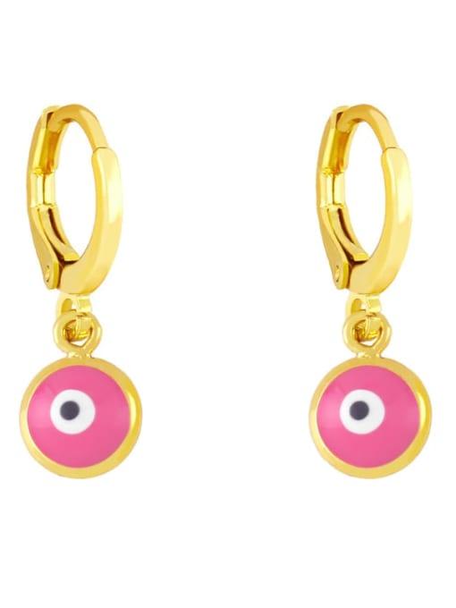 Pink Brass Enamel Evil Eye Minimalist Huggie Earring