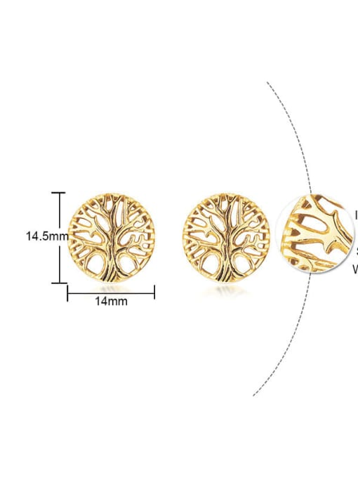 CONG Stainless steel Tree Hip Hop Stud Earring 3