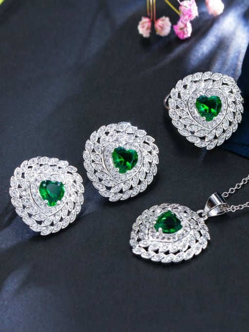 Green Ring Size 9 Brass Cubic Zirconia Luxury Heart Earring Ring and Necklace Set