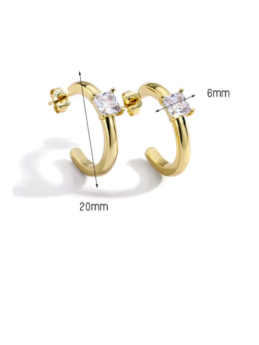 CHARME Brass Cubic Zirconia Geometric Stud Earring 2