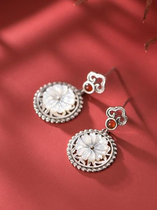 Rosh 925 Sterling Silver Shell Flower Vintage Drop Earring