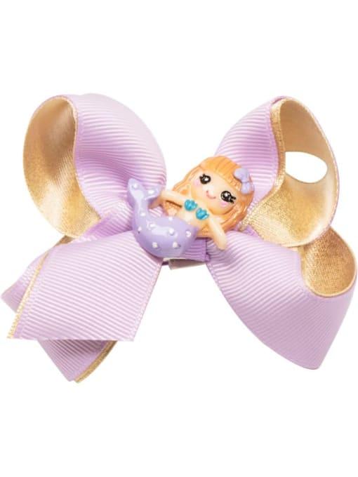 14 golden purple Mermaid Alloy  Fabric Cute Bowknot Multi Color Hair Barrette
