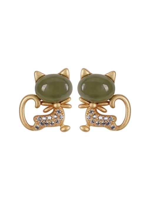 DEER 925 Sterling Silver Jade Cat Cute Stud Earring 0