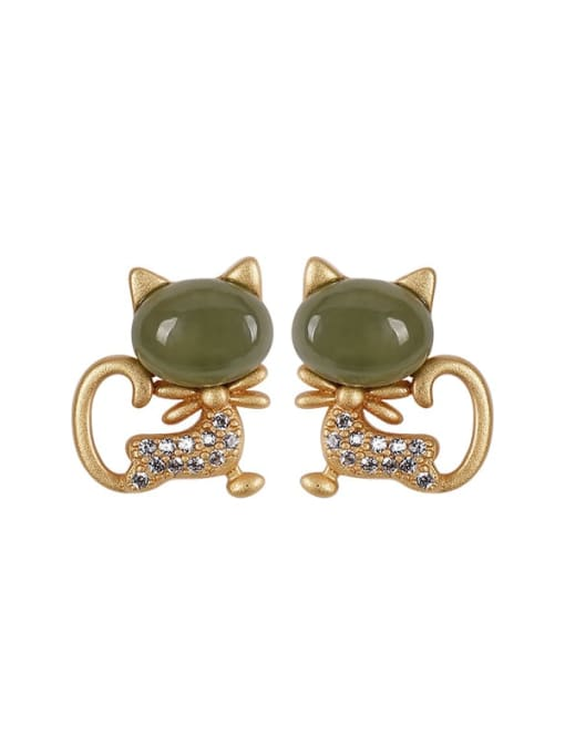 DEER 925 Sterling Silver Jade Cat Cute Stud Earring