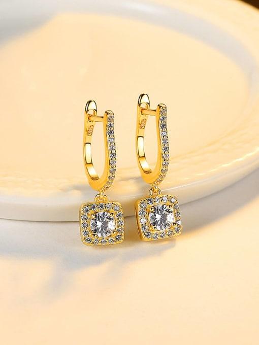 18K 18J05 925 Sterling Silver Cubic Zirconia Geometric Dainty Drop Earring