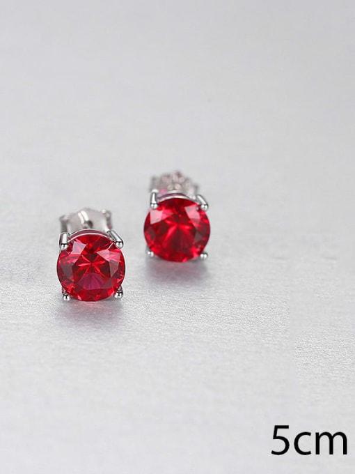 Red 0.5 23j01 925 Sterling Silver Cloisonne Geometric Minimalist Stud Earring