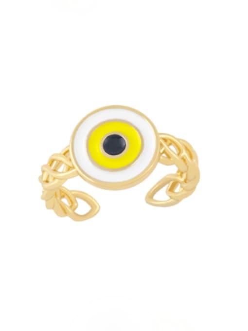 yellow Brass Enamel Evil Eye Vintage Band Ring