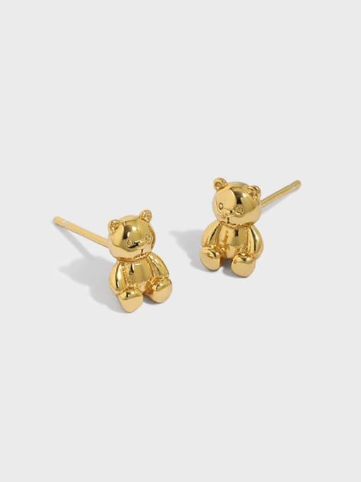 DAKA 925 Sterling Silver Smooth Bear Cute Stud Earring