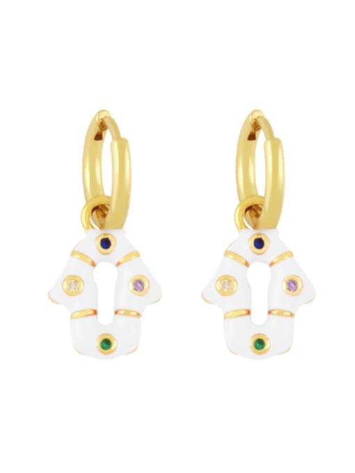 CC Brass Enamel Geometric Vintage Huggie Earring 3