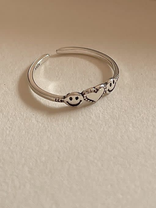Love smile ring 1594 0.9g 925 Sterling Silver Geometric Vintage Band Ring