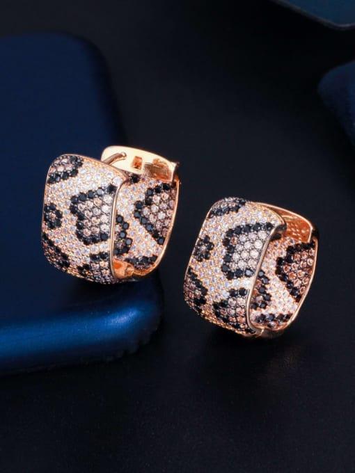 L.WIN Brass Cubic Zirconia Round Vintage Huggie Earring