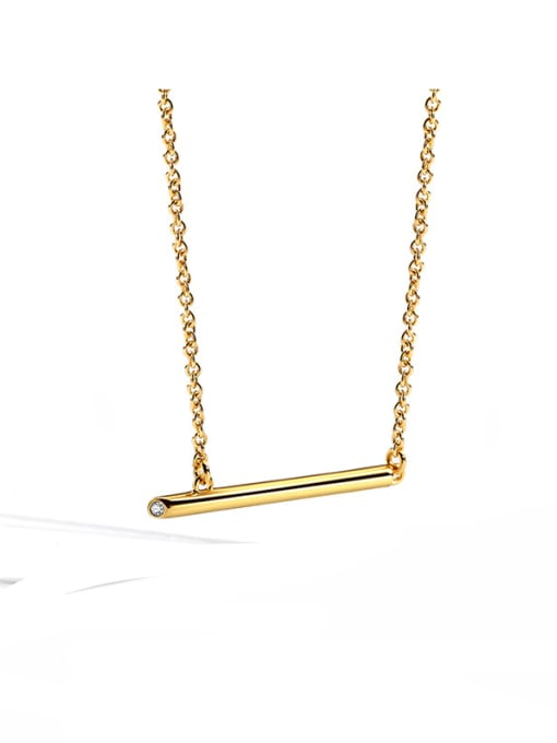 CHARME Brass Rhinestone Geometric Minimalist Pendant Necklace 0