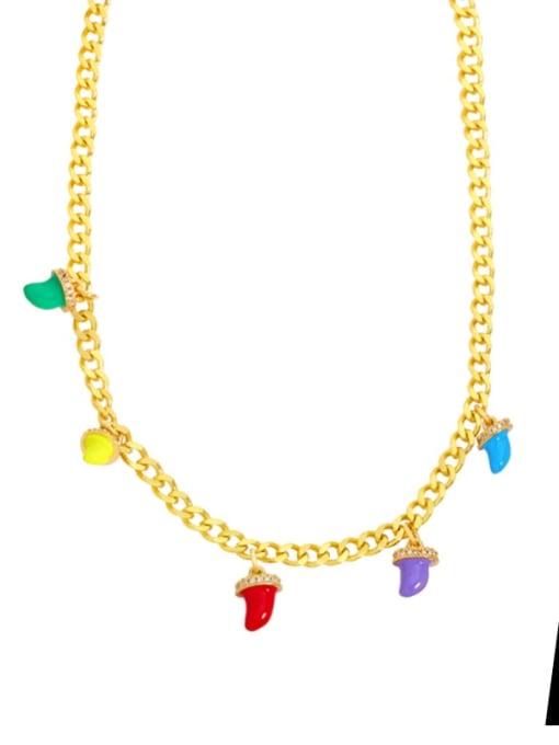 A Brass Enamel Geometric Hip Hop Necklace