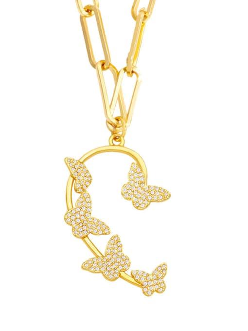 butterfly Brass Cubic Zirconia Butterfly Hip Hop Necklace