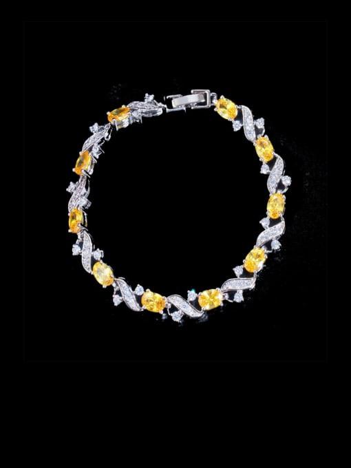 yellow Brass Cubic Zirconia Flower Luxury Bracelet
