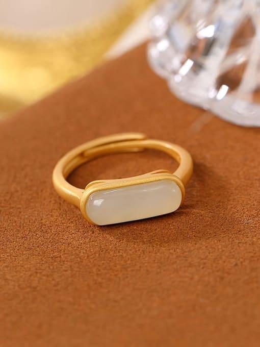 DEER 925 Sterling Silver Jade Geometric Minimalist Band Ring 3