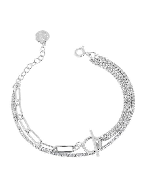 silver 925 Sterling Silver Geometric Vintage Strand Bracelet