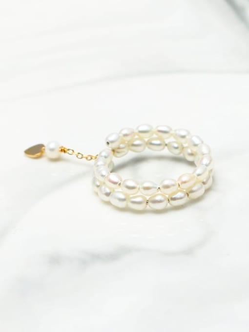 RAIN Brass Freshwater Pearl Geometric Minimalist Stackable Ring 4