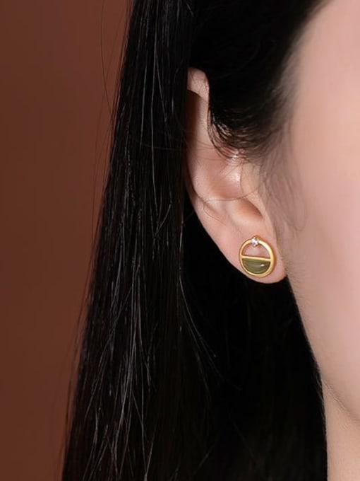DEER 925 Sterling Silver Jade Geometric Vintage Stud Earring 1