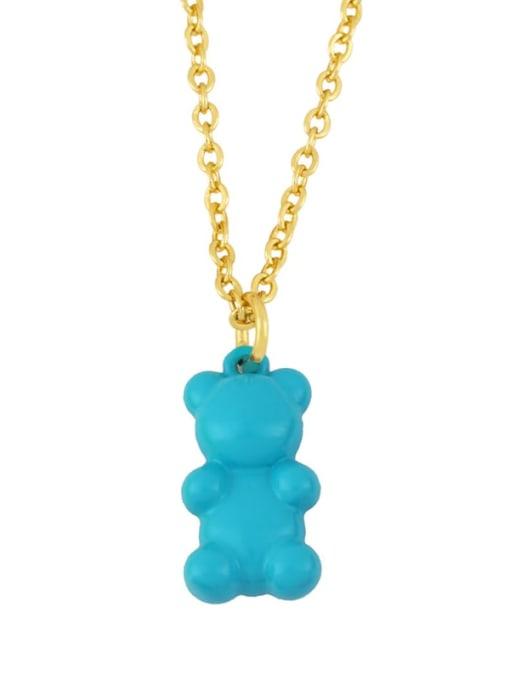 blue Brass Enamel Cute Bear Pendant Necklace