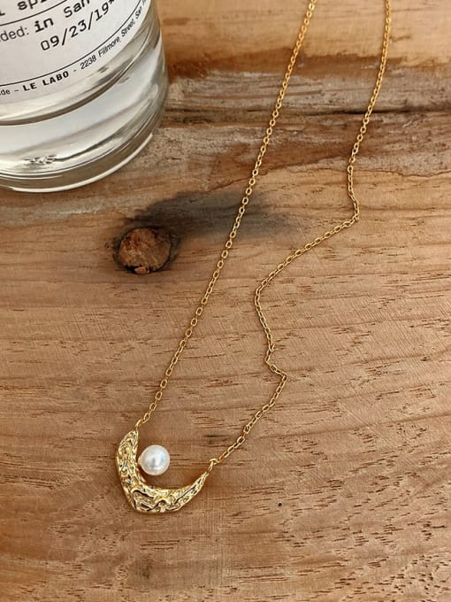Boomer Cat 925 Sterling Silver Imitation Pearl Moon Vintage Necklace 0