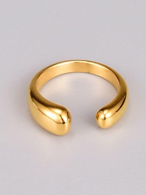A TEEM Titanium Steel Water Drop Minimalist Band Ring 0