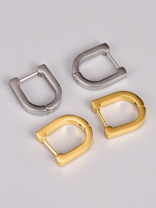 A TEEM Titanium Steel Geometric Vintage Huggie Earring 2