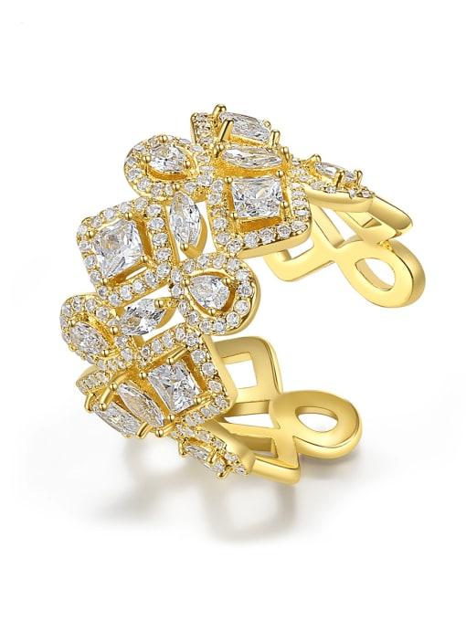 BLING SU Brass Cubic Zirconia Geometric Dainty Band Ring 0